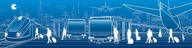 运输全景 乘客输入并且退出公车运送 人们上火车 航空旅行基础设施 飞机在 皇族释放例证