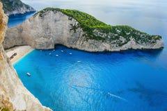 运输击毁海滩,扎金索斯州海岛,希腊 免版税库存照片