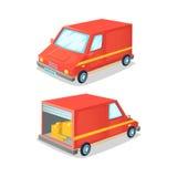 运输卡车的动画片概念 送货车前面和后面视图 也corel凹道例证向量 库存照片