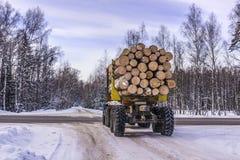 运输在冬天注册在森林公路的卡车 库存图片