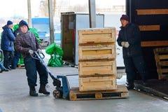 运输在手台车的工作者木箱 库存照片