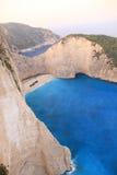 运输在扎金索斯州海岛-希腊上的击毁海湾 免版税库存照片