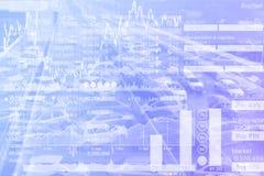 运输投资股票指数图表在蓝色梯度的 库存照片
