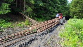 运输木头的拖拉机 免版税库存照片
