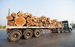 运输木头的大卡车 免版税库存图片