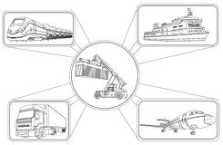 运输概念,装载容器和运输 向量例证