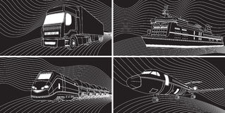 运输概念:飞机,火车,卡车,划线员 黑色和whi 免版税库存图片