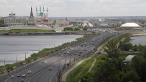 运输水坝、Kazanka河和喀山克里姆林宫 喀山,鞑靼斯坦共和国,俄罗斯 影视素材