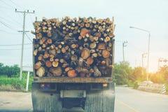 运输注册在路,可再造能源的一辆卡车 库存图片