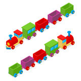 运输火车玩具等轴测图 向量 库存例证