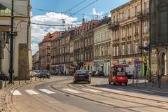 运输的运动在克拉科夫街道上的  图库摄影