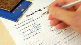 运输船员与护照的签证文件,申请和外国人国家的允许 影视素材