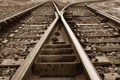运输路线铺铁路土气分裂的跟踪 免版税库存照片