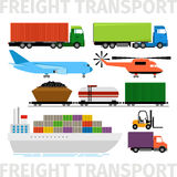 运输车、飞机和火车,有拖车船传染媒介例证的卡车 免版税库存照片