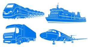 运输:飞机,火车,卡车,划线员 向量例证