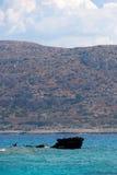 运输击毁地中海, Balos,格拉姆武萨群岛,克利特希腊 库存图片