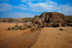 运输击毁, Duckpool海滩康沃尔击毁康沃尔郡英国 库存照片