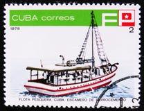 运输Escamero De Ferrocemento,渔船队,大约1978年 库存照片