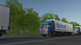 运送半有驾驶沿森林公路,无缝的圈的沃尔码商标的卡车 社论4K夹子 影视素材