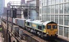 运送(容器)曼彻斯特的火车中心 库存照片
