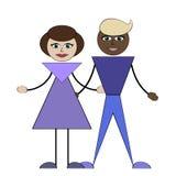 近亲通婚 白种人妇女和非洲人 库存照片
