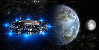 临近地球的外籍人飞碟 免版税库存图片
