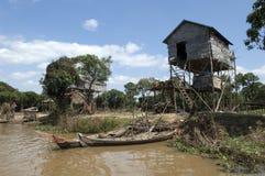 近柬埔寨湖收割树汁siem tonle 库存图片