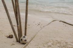 近橄榄球烘干了在白色沙子的竹子 库存照片