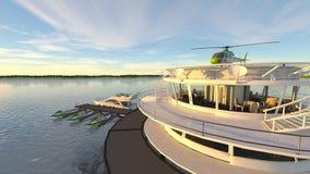 近海直升机场 免版税图库摄影