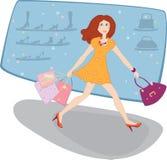 近袋子购物妇女 向量例证