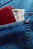 返回发单美元牛仔裤装在口袋里我们 库存照片