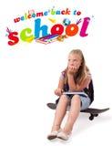 返回女孩查出的学校主题对白色 免版税库存图片