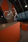 返回骑自行车者谷物常设轮子 免版税库存照片