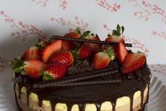 这个三倍巧克力沫丝淋蛋糕 免版税库存照片