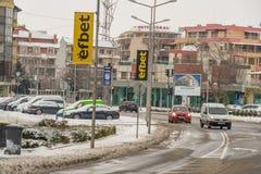 这个冬天在波摩莱南部的保加利亚镇  免版税库存图片