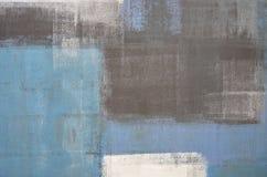 蓝色和灰色抽象派绘画 免版税图库摄影