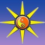 标志yin杨和太阳 图库摄影
