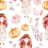 这个秋天无缝的样式包括甜女孩,秋叶,分支,花,美丽的南瓜 皇族释放例证