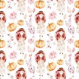 这个秋天无缝的样式包括甜女孩,秋叶,分支,花,美丽的南瓜 向量例证