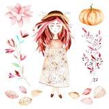 这个秋天集合包括的甜女孩,秋叶,分支,花,美丽的南瓜 皇族释放例证