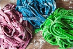 这些多彩多姿的面团食谱洗染与有机菜和香料在背景 蓝色,红色和绿色fettuccin 图库摄影