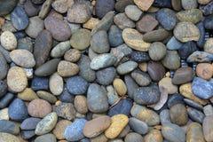 这些好的小的回合色的小卵石沿着河倒空的海滩被找到 pebbl的这个可爱的自然样式 免版税图库摄影