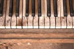 这些老钢琴钥匙 库存照片