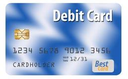 这在白色背景隔绝的一张普通银行借项卡片 向量例证