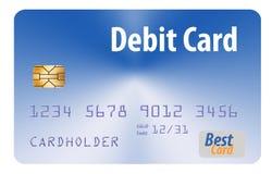 这在白色背景隔绝的一张普通银行借项卡片 库存例证
