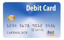 这是在白色背景隔绝的一张普通银行借项卡片 皇族释放例证