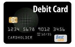 这是在白色背景隔绝的一张普通银行借项卡片 库存例证