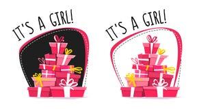 这是女孩问候明信片或贴纸,动画片错误透视最小的平的样式 充分连续汽车礼物,礼物sta 库存例证