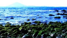 这是济州岛Udo美好的蓝色海风景  免版税库存图片