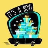 这是男孩问候明信片或贴纸,动画片错误透视最小的平的样式 充分连续汽车礼物,礼物stac 向量例证